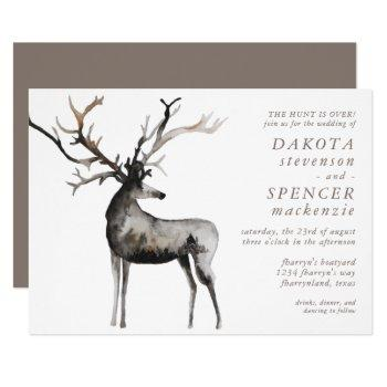 rustic antlers | the hunt is over country wedding invitation