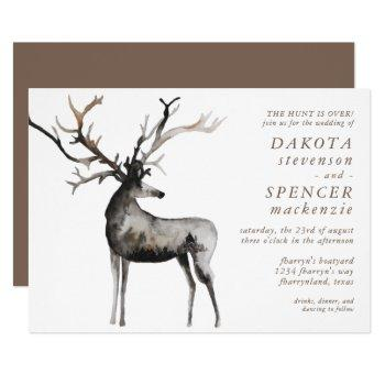 rustic antlers | the hunt is over nature wedding invitation