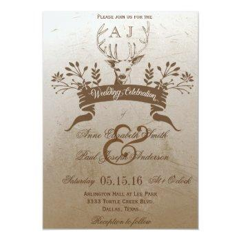 Small Rustic Antlers Wedding Invitation Front View
