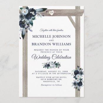 rustic arch dusty blue floral wedding invitation