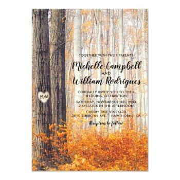 Small Rustic Autumn Fall Leaves Wedding Invitation Front View