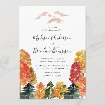 rustic autumn forest fall wedding invitation