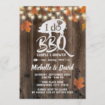 rustic autumn leaves i do bbq barn wedding invitation