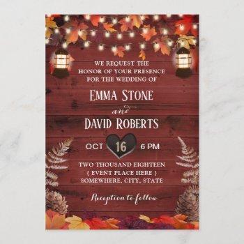 rustic autumn leaves lantern red barn wedding invitation