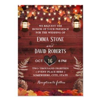 rustic autumn leaves lantern red barn wedding invitation