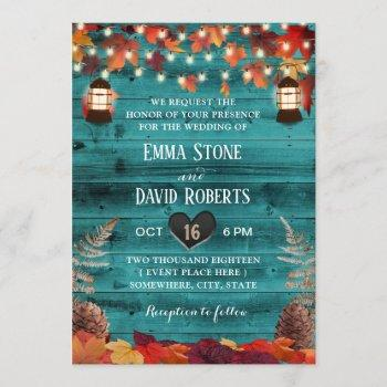 rustic autumn leaves lantern teal barn wedding invitation