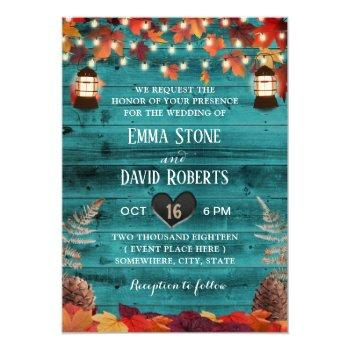 rustic autumn leaves lantern teal barn wedding invitation