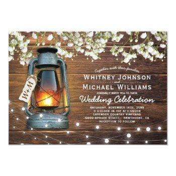 rustic baby's breath barn wood lantern wedding invitation