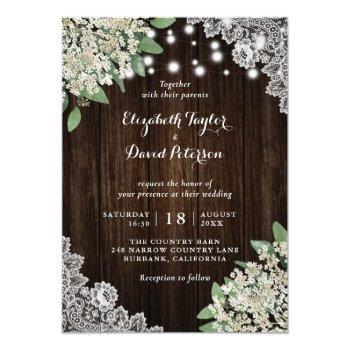 rustic baby's breath greenery wedding invitations