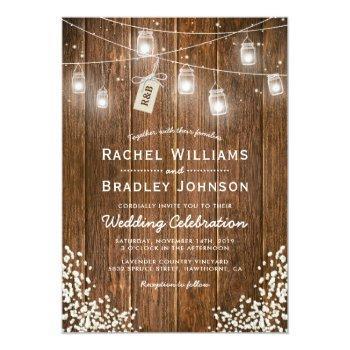 rustic babys breath jam jar winter wedding invitation