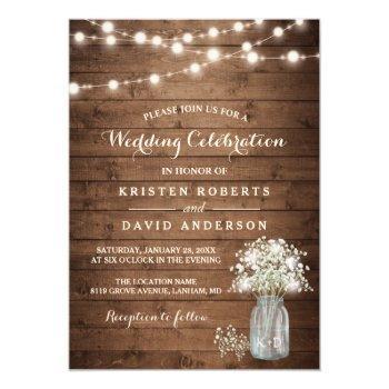 Small Rustic Baby's Breath Mason Jar Lights Wedding Invitation Front View