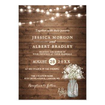 rustic baby's breath string lights formal wedding invitation