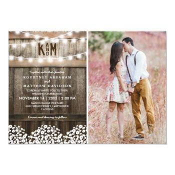 rustic baby's breath string lights photo wedding invitation