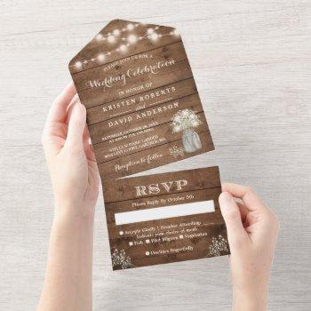 rustic baby's breath string lights wedding all in one invitation