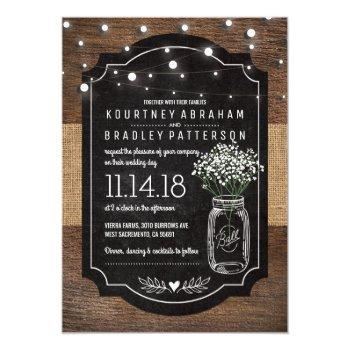 rustic baby's breath wooden wedding | mason jar invitation