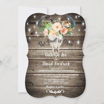 rustic barn floral antler hunt evening wedding invitation