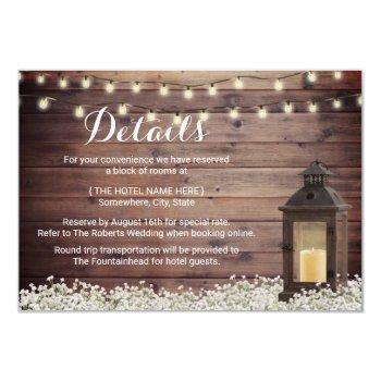 rustic barn lantern string light wedding details invitation