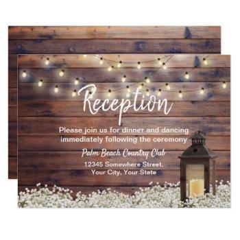 rustic barn lantern string light wedding reception invitation