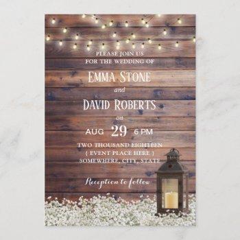 rustic barn lantern string lights country wedding invitation