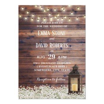 rustic barn lantern string lights country wedding invitation