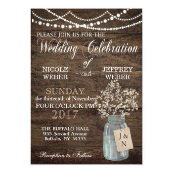 rustic barn wedding wood mason jar babys breath invitation