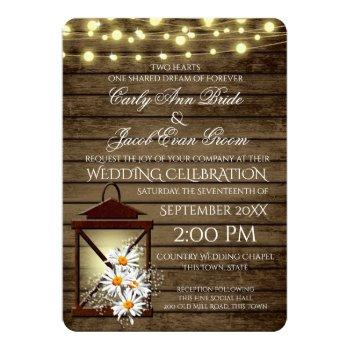 rustic barn wood and lantern with daisies invitation