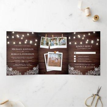 rustic barn wood lace string lights photo wedding tri-fold invitation