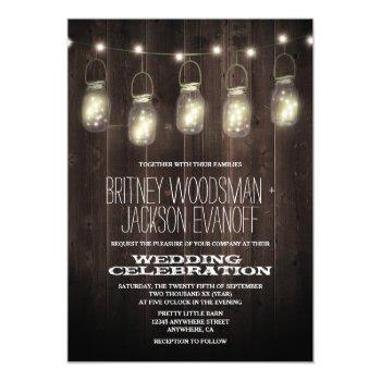rustic barn wood mason jar wedding invitations