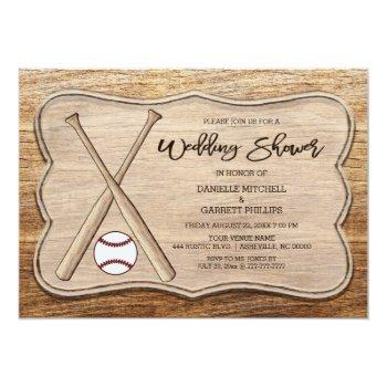 rustic baseball bats wedding shower invitation