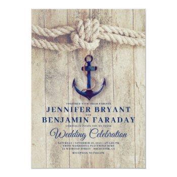rustic beach - nautical navy anchor wedding invitation