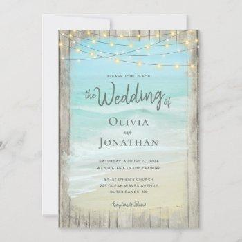 rustic beach wood string lights waves wedding invitation