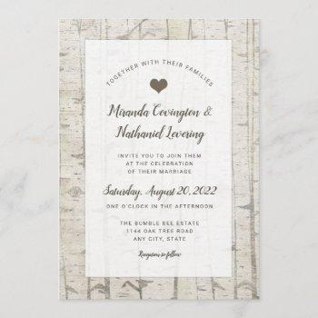 rustic birch wedding invitations