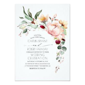 Small Rustic Bloom And Faux Rose Gold Foil Wedding Invitation Front View