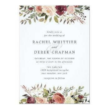 Small Rustic Bloom Wedding Invitation Front View