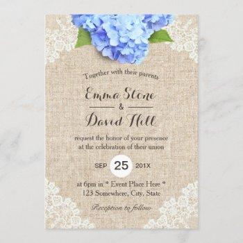 rustic blue hydrangea floral lace & burlap wedding invitation