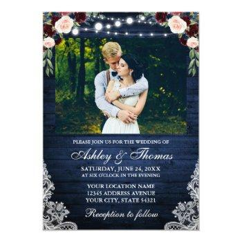 rustic blue wedding floral wood lights lace photo invitation