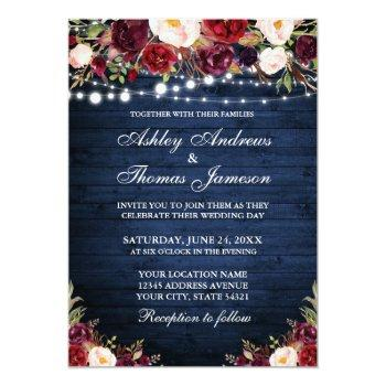 rustic blue wood burgundy floral lights wedding invitation