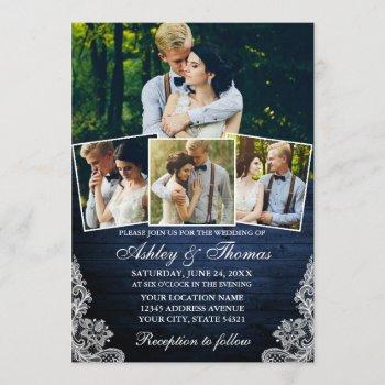 rustic blue wood lace 4 photo wedding invitation