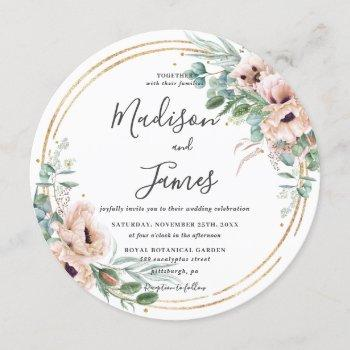 rustic blush floral eucalyptus wedding gold circle invitation