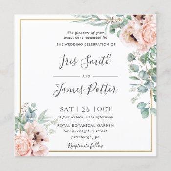 rustic blush pink floral eucalyptus gold wedding invitation