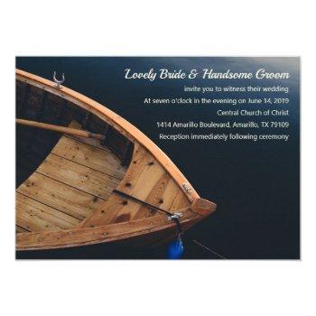 rustic boat wedding invitation