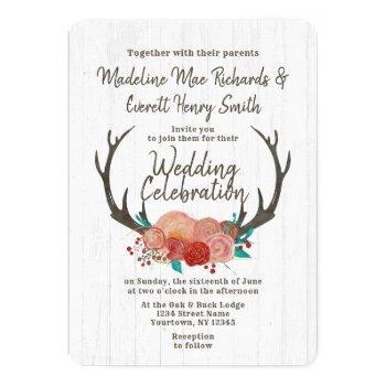 rustic boho deer antler floral wedding invitation