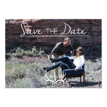 Small Rustic & Boho | Deer Antler | Save The Date Photo Invitation Front View