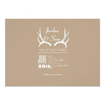 Small Rustic & Boho | Deer Antler | Save The Date Photo Invitation Back View