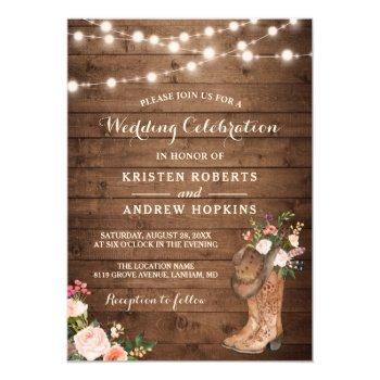 rustic boots cowboy cowgirl floral lights wedding invitation