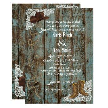 rustic boots & lace wedding invite