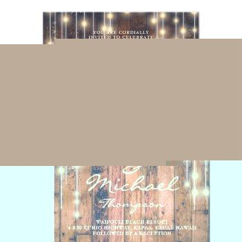 Small Rustic Brown Wood & Lights | Wedding Invitation Front View