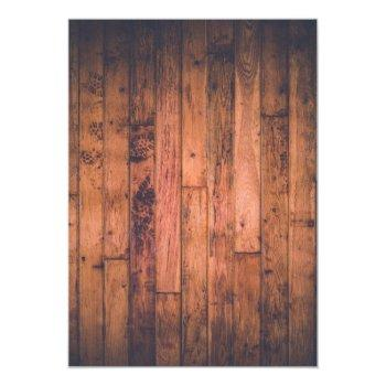 Small Rustic Brown Wood & Lights | Wedding Invitation Back View
