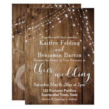rustic brown wood, white light strings wedding 2 invitation