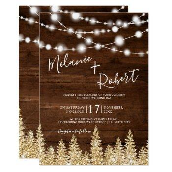 rustic brown wood winter gold forest wedding invitation